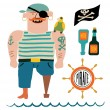 Cartoon pirate vector set. Pirate with a parrot on shoulder, flag with skull and bones, bottles of rum and steering wheel. — Stock Vector #69345191