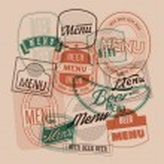 Beer menu design with retro beer labels stamps. Vector illustration. — Stock Vector #69348077