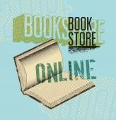 Typographic poster in grunge style for a online bookstore. Vector illustration. — Stock Vector