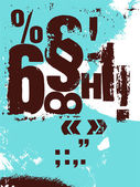 Retro poster in grunge style with typographic signs. Vector illustration. — Vector de stock