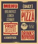 Retro typographic restaurant menu design. Vector illustration. Background grunge effect in separate layer. — Stock Vector