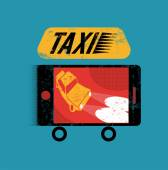 Taxi. Retro grunge poster with smartphone. Mobile app for booking taxi. Vector illustration. — Stock Vector