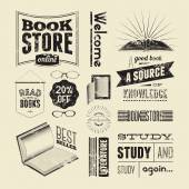 Typography vector set of vintage design elements for bookstore or library. — Stock Vector