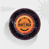 Vintage grunge style beer poster. Bottle top. Craft beer label. Vector illustration. — Stock Vector