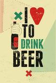 Typographic retro grunge beer poster. Vector illustration. — Stock Vector