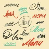 """Hand lettering word """"Menu"""". Vector set of calligraphic menu headlines. — Stock Vector"""