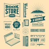 Typography vector set of vintage design elements for bookstore or library (without grunge effect). — Stock Vector