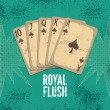 Vintage grunge style casino poster with playing cards. Royal flush in spades. Retro vector illustration. — Stock Vector #71101529