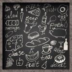 Set of hand-drawn food on chalkboard. Restaurant food menu design. Vector illustration. — Stock Vector #71104569
