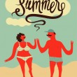 Happy summer. Calligraphic retro poster with cartoon couple. Vector illustration. — Stock Vector #71107889