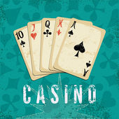 Vintage grunge style casino poster with playing cards. Retro vector illustration. — Stock Vector