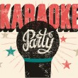Typographic retro grunge karaoke party poster. Vector illustration. — Stok Vektör #71117817