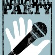 Typographic retro grunge karaoke party poster. Vector illustration. — Stok Vektör #71118181
