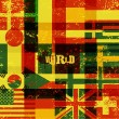 Typographical retro grunge world poster with flags. Vector illustration. — Stock Vector #71119741