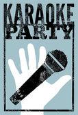 Typographic retro grunge karaoke party poster. Vector illustration. — Wektor stockowy