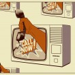 Call Now! Typographic retro poster. TV with a hand that is holding the telephone receiver. Vector illustration. — Stock Vector #72894749