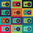 Set of retro audio cassettes. Retro poster with colorful cassettes. Vector illustration. — Stock Vector #72896299
