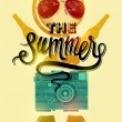 Summer time retro poster. Vector design with vintage things. Eps 10. — Stock Vector #72897903