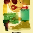 Summer time retro poster. Vector design with vintage things. Eps 10. — Stock Vector #72898259