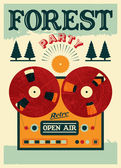 Vintage open air forest party poster. Retro typographic vector illustration. — Vetor de Stock