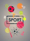 Sport poster with basketballs, footballs, tennis balls, rackets and shuttlecocks. Vector illustration. — Stock Vector