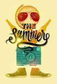 Summer time retro poster. Vector design with vintage things. Eps 10. — Stock Vector