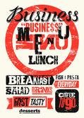 Restoran Menü tipografik grunge tasarım. Vintage iş öğle yemeği posteri. Vektör çizim. — Stok Vektör