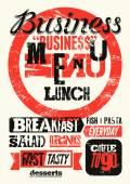 Restaurant menu typographic grunge design. Vintage business lunch poster. Vector illustration. — Stock Vector