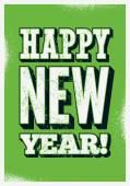 Gelukkig Nieuwjaar! Typografische kerst groeten kaart ontwerp. Grunge vectorillustratie. — Stockvector