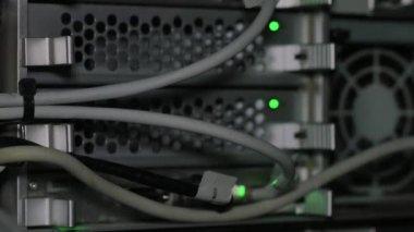 Green lights near computer fan — Стоковое видео