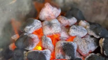 Hot burning charcoal coals in grill — Stock Video
