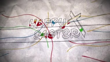Happy Easter Color Cross — Stockvideo