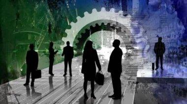Business Gears Blue 2 — Stock Video