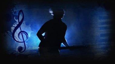 Guitar Man Blue — Stock Video