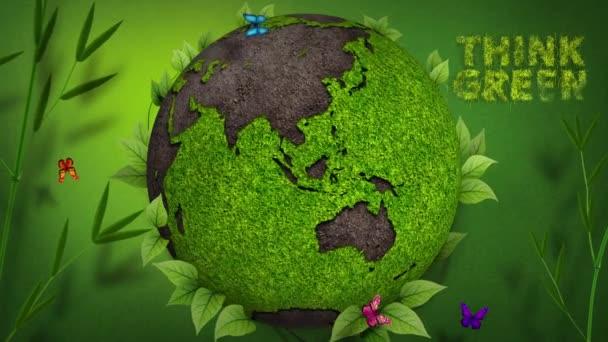 Piensa verde Global — Vídeo de stock