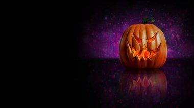 Purple Pumpkin Happy Halloween — Stock Video