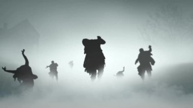 Zombies in the Fog — Stock Video