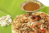 Uttapam, Traditional South Indian Breakfast with sambar and coconut chutney. — Stock Photo