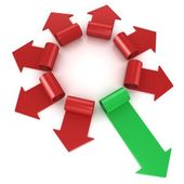 Red spiral arrows directed of the center, with one green arrows faster than others, on white — Stock Photo