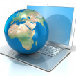Laptop with illustration of earth globe, Europe and Africa view. 3D rendering isolated on white background — Stock Photo #68484663