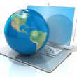 Laptop with illustration of earth globe, America view. 3D rendering isolated on white background — Stock Photo #68484741