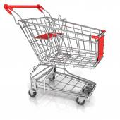 Shopping cart, isolated on white background. Side view — Stock Photo