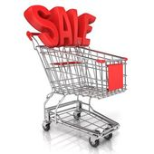 Satılık işareti, beyaz arka plan üzerinde izole kırmızı alışveriş sepeti — Stok fotoğraf