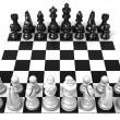 Chess Board with all chess pieces, isolated on white background. Side view — Stock Photo #69076631