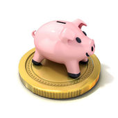 Piggy bank money box standing on gold coin. Isolated on a white background — Stock Photo