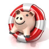 Piggy bank with lifebuoy. Isolated on white. Side view — Stock Photo