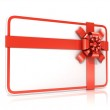 White blank gift card, with red ribbon. 3D render illustration isolated on white. Side view — Stock Photo #69689111