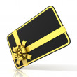 Black blank gift card, with golden ribbon. 3D render illustration isolated on white. Side angled view — Stock Photo #69689165