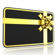 Black blank gift card, with golden ribbon. 3D render illustration isolated on white. Side view — Stock Photo #69689253