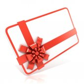 White blank gift card, with red ribbon. 3D render illustration isolated on white. Side angled view — Stockfoto